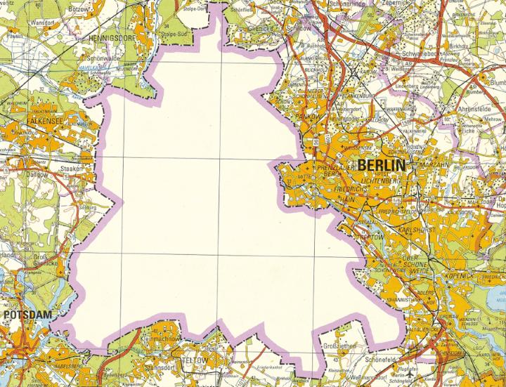 1988 East German Map of West Berlin