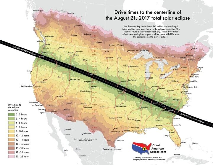 Drive Time To See The Total Solar Eclipse on August 21, 2017