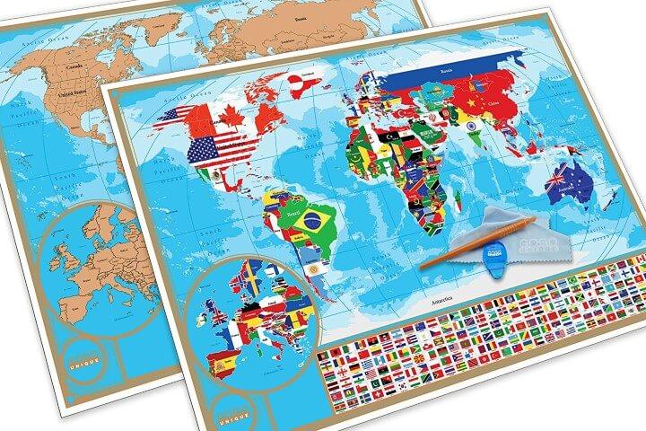 Scratch Off World Flag Map