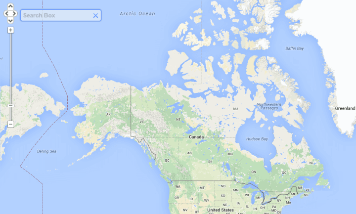 Half of Canada lives south of the red line, or 45.7 degrees north