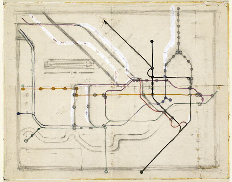 1931 Harry Beck's Original sketch for the London Underground Railways Map