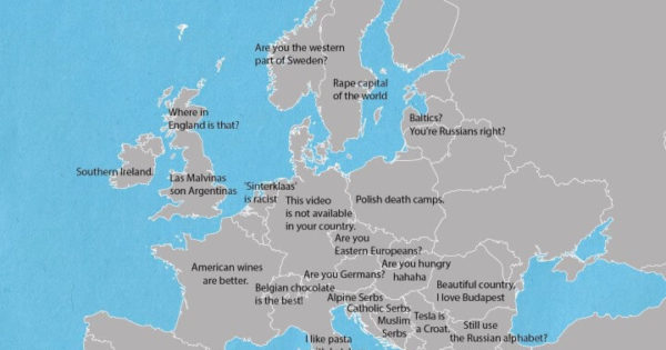 How To Irritate Europeans In Just One Sentence – Brilliant Maps Stereotypes Map Of Every Country on world map by country, map of iran, map of saudi arabia, map of city, map of middle east countries, map of guatemala, map of united kingdom, map of romania, map of europe today, map of philippines, map of austria, map of countries with the globe, map of nigeria, map of china, map of countries with dictators, map of indonesia, map of yemen, map of pakistan, map with countries of the earth,