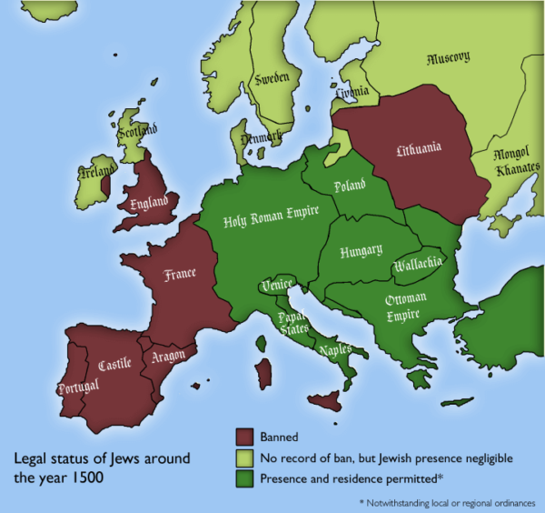 Map Of England In 1500.Legal Status Of Jews By European Country Around 1500 Brilliant Maps