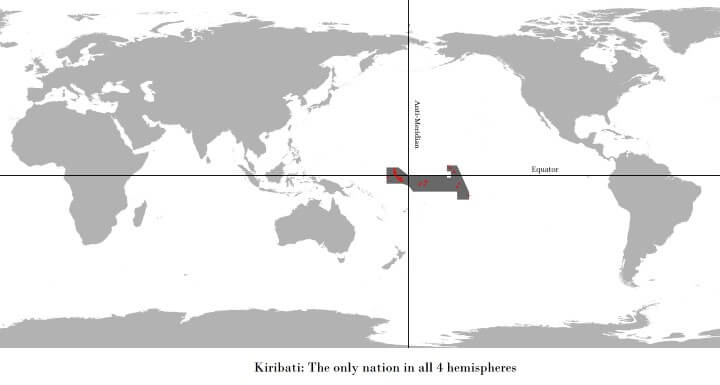 Kiribati is the only nation in all 4 hemispheres of the world
