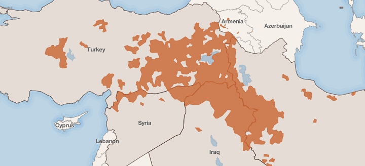 Kurdish inhabited areas