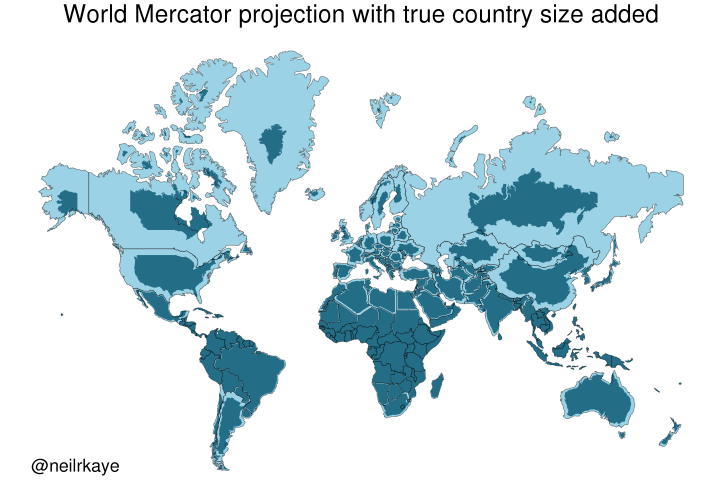 Map Projections: Mercator Vs The True Size of Each Country