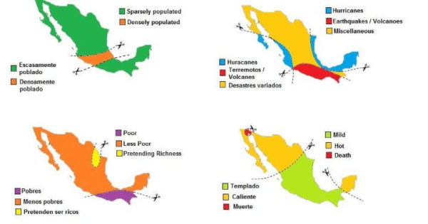 Mexico Divided By Stereotypes Brilliant Maps