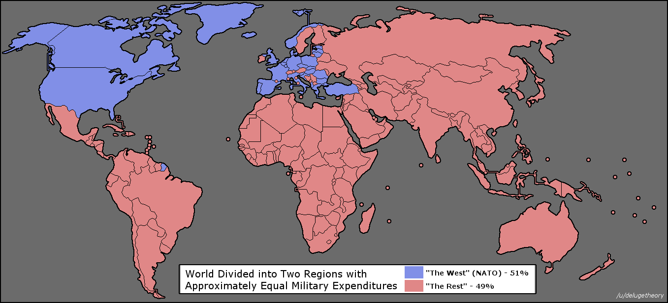 World Divided In Half Based On Military Spending