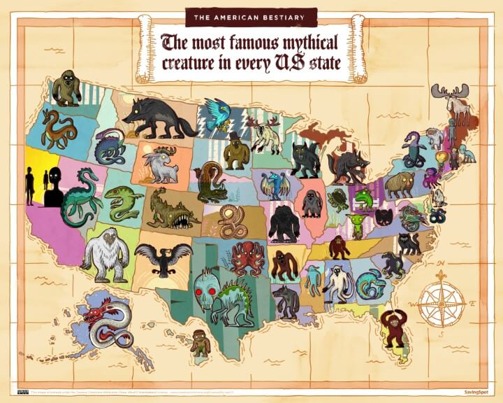 The Most Famous Mythical Creatures & Animals In Each US State