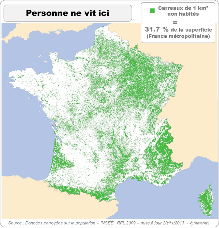 Nobody Lives Here: Parts of France Where Nobody Lives Within 1km