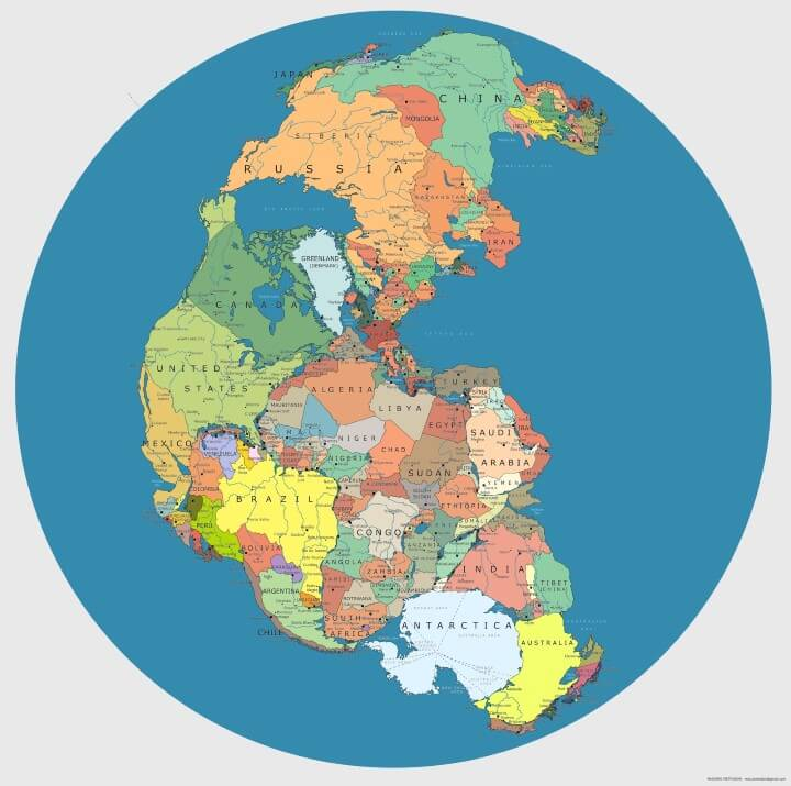 Pangaea Map With Current International Borders