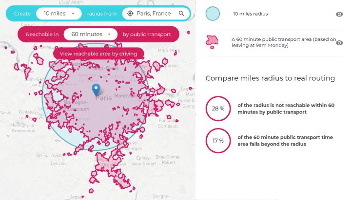 Paris Public Transport Travel Time Map