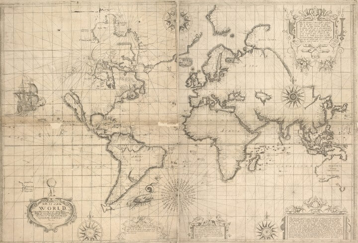 Edward Wright 1599 world map using Mercator's projection