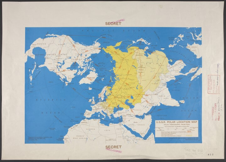 1951 Cold War map showing the world as seen from the north pole