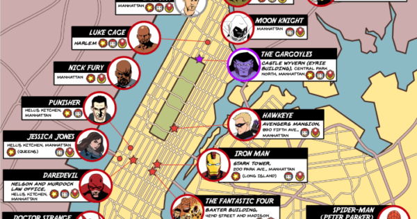 A Map Of Superheroes In Nyc The Areas They Protect Brilliant Maps