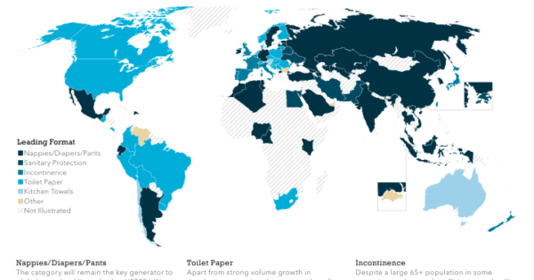 World Toilet Paper Map Showing Spending On Tissue & Hygiene