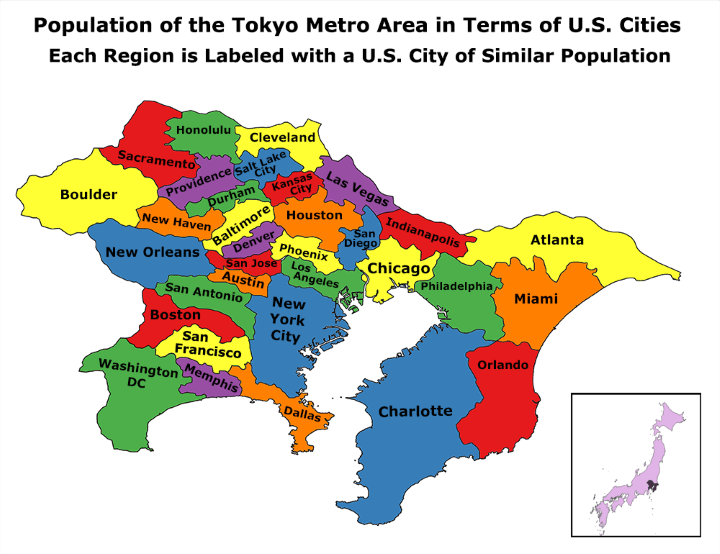 Population of the Metro Tokyo Area Compared To US Cities Brilliant