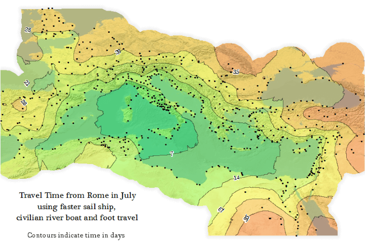 Travel Time from Ancient Rome