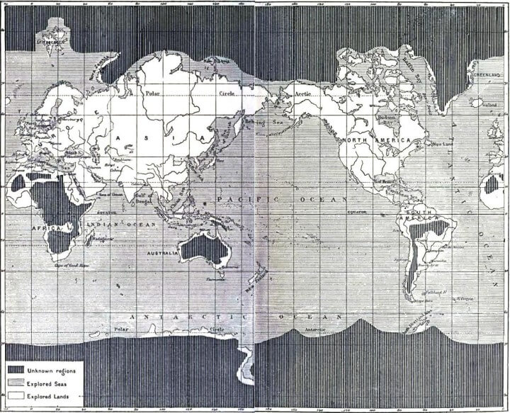 Map of The Unexplored World From 1881
