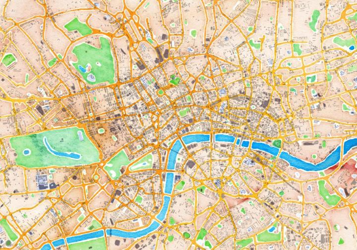 Watercolour map of London