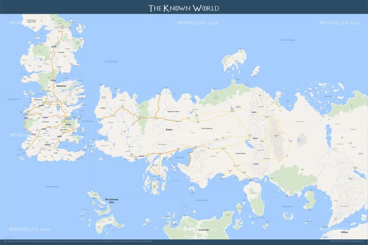 Westeros, Essos and The Known World of Game of Thrones, Google Maps-style