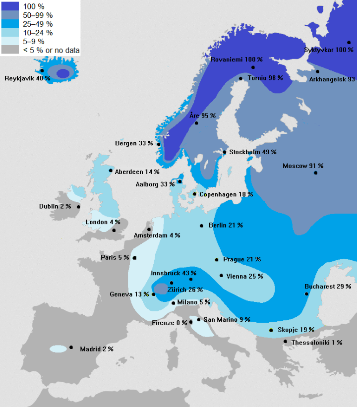 Probability of a White Christmas Across Europe - Brilliant Maps