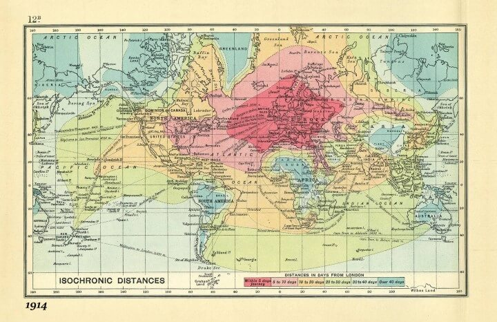 Travel Times From London in 1914 World Isochrone Map