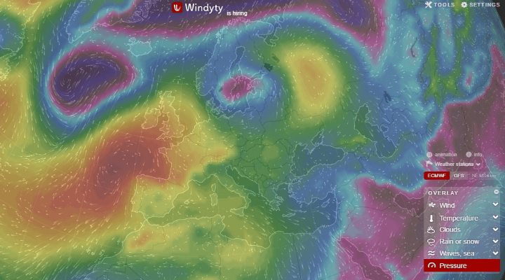 Interactive pressure weather map