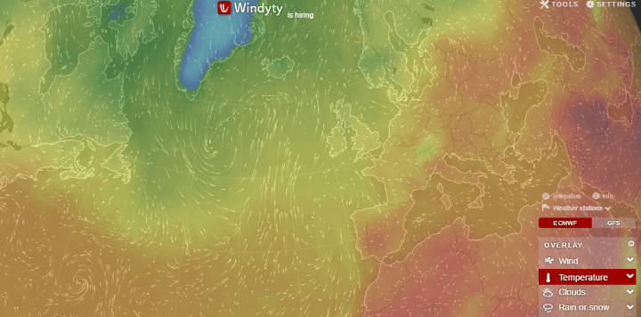 Interactive world temperature weather map